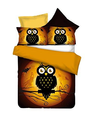 DecoKing 155x220 cm Bettwäsche mit 1 Kissenbezug 80x80 Eule Eulen Bettwäscheset Bettbezüge Microfaser Bettwäschegarnituren Reißverschluss Halloween Owls Collection Ghost Story orange braun schoko schwarz