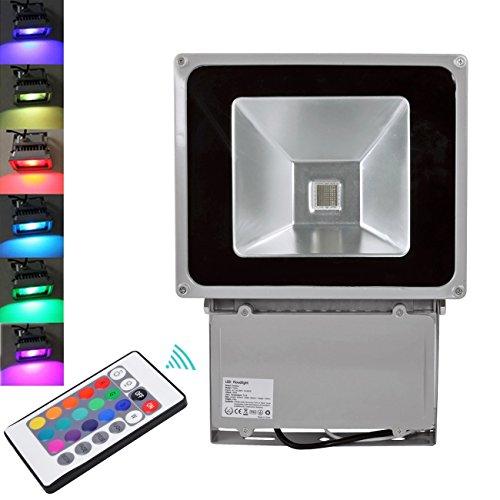 2X TEquem 100W RGB LED Flutlicht mit Fernbedienung 16 Farben Objektbeleuchtung Strahler Flutlichtstrahler IP65 Wasserdicht LED Fluter, Aluminium Außenstrahler Garten Stimmungslichter (2PCS 100W)