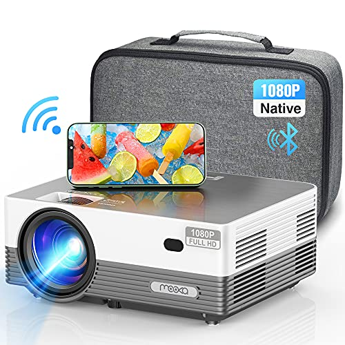 """MOOKA Q6 Native 1080P WiFi Bluetooth Projector,Upgraded 8500L HD Video Projector with Carrying Bag,Support 4K &300""""Display,Home&Outdoor Movie Projector Compatible with iOS/Android/PC/TV Stick/PS4"""