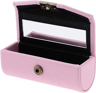 Caja de Pintalabios Recipientes de Lápiz Labial Envase de Joyería Organizador con Espejo - Rosado