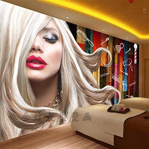 Tantoto 3D Papel pintado Papel Tapiz Salón De Belleza Peluquería Retro 3D Murales El Barbero Peluquero De Papel Tapiz De Fondo De Madera De Grano De Madera Papel De Pared