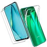 Yoowei para Huawei P40 Lite Funda + [2-Pack] Cristal Templado, Transparente Suave Delgado TPU Silicona Carcasa con 2 Unidades Protector de Pantalla de Vidrio Templado para Huawei P40 Lite