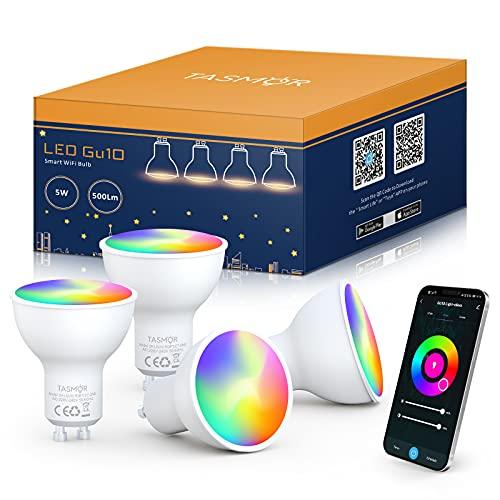 Bombilla LED Inteligente GU10, TASMOR Bombilla LED WIFI 5W Equivalente 50W, Luces Regulables Multicolores RGBW( 2700K-6500K) , Bombilla LED Alexa GU10 Funciona con Alexa, Google Home y APP, 4 PCS