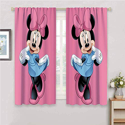DIMICA Black Out Curtains for Bedroom Mickey Minnie Mouse W52 x L63 Inch for Living Room or Bedroom Rod Pocket curtian
