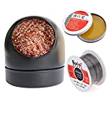 Alysontech Soldering Iron Tip Cleaner + 60/40 Solder Wire Reel Fine 0.6mm Tin Lead Rosin Core (1.76oz/50g) + Soldering Rosin Flux Paste Gel (0.35oz/10g?for Electronics Metalworking Welding (Black)