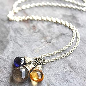 Labradorite Lolite Citrine Gemstone Pendant Sterling Silver Necklace