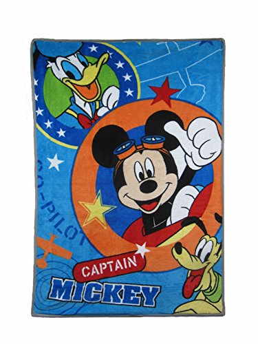 Disney Mickey Mouse Captain Mickey Super Soft Toddler Blanket, Blue, Orange