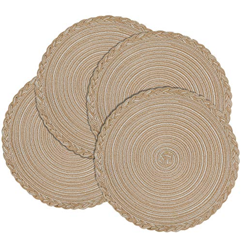 Homaxy Round Braided Placemats for Dining Table Set of 4 - Woven Heat Resistant Non-Slip Kitchen Table Mats, 14