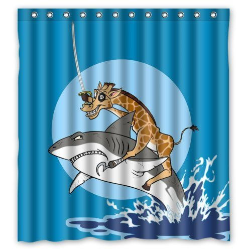 Funny Giraffe Riding on the Big Shark Shower Curtain for Kids- Fashion Personalize Custom Bathroom Shower Curtain Waterproof Polyester Fabric 66(w)x72(h) Rings Included