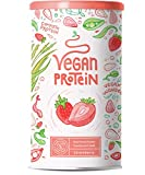 Proteina Vegana | FRESA | Proteína vegetal de arroz, guisantes, semillas de lino, amaranto, semillas de girasol y semillas de calabaza germinadas | 600g en polvo con sabor a Fresa
