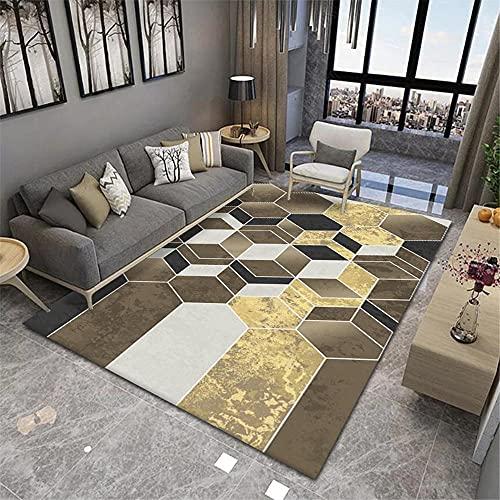 La Alfombra Alfombra salón Alfombra geométrica Amarilla marrón Lavable Antideslizante alfombras para bebé Decoracion Dormitorio Matrimonio 180*250cm