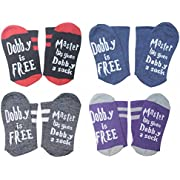 4 Pairs Unisex Novelty Socks Funny Saying Dobby is Free Knitted Words Crew Socks for Womens Mens