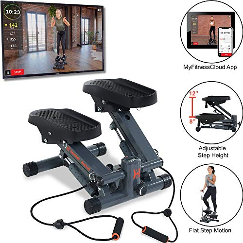 Men's Health Women's Health Bluetooth Cardio Stair Stepper with Adjustable Resistance Bands and with MyCloudFitness App, Black