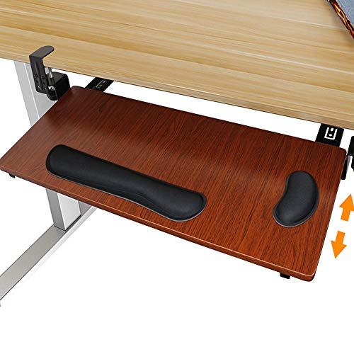 Novhome Tastaturschublade Holz ausziehbar Ergonomisch Tastaturauszug Universal verstellbar Tastaurablage Unter Tischschublade mit Handgelenkpolster