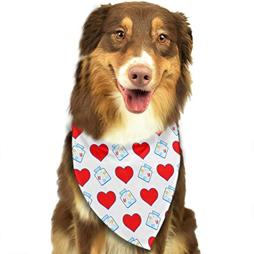 Haustier Schal The Heart and Tablet Symbols Pattern Pet Dog Bandana Triangle Bibs Scarf - Easy to Tie On Your Dogs & Cats Pets - Comfortable and Stylish Pet Accessories