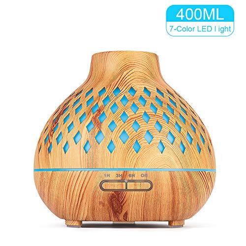 400ml Difusor de Aceites Esenciales,Difusor Aromaterapia de 7-Color LED,Humidificador Ultrasónico Cool Mist sin BPA