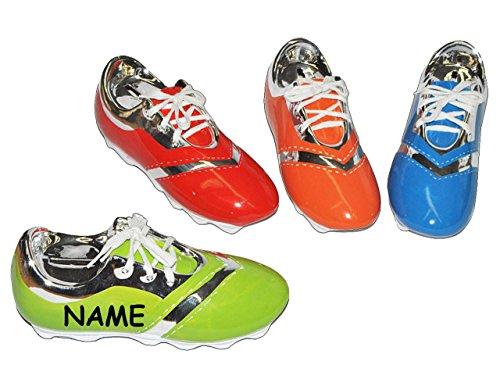 alles-meine.de GmbH Sparschwein Fußball Schuh incl. Name - Porzellan / Keramik - stabile Sparbüchse Spardose Kinder Fussball