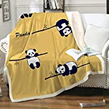 FairyShe Panda Plush Blanket Sherpa Fleece Blanket,Soft Warm Fuzzy Throw Blankets Kids or Adults for Crib Bed Couch Chair Living Room All Seasons Travel Outdoors (50 x 60 Inch) (Yellow Panda)