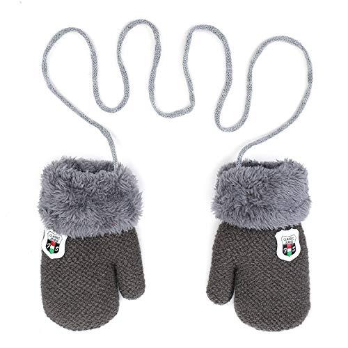 Qchomee Handschuhe Baby Mädchen Fausthandschuh Winter Kinderhandsche Warm Halshandschuhe Verdickte Outdoor Strickhandschuh Plüsch Weich Winterhandschuhe Skihandschuhe Handwärmer für Kinder