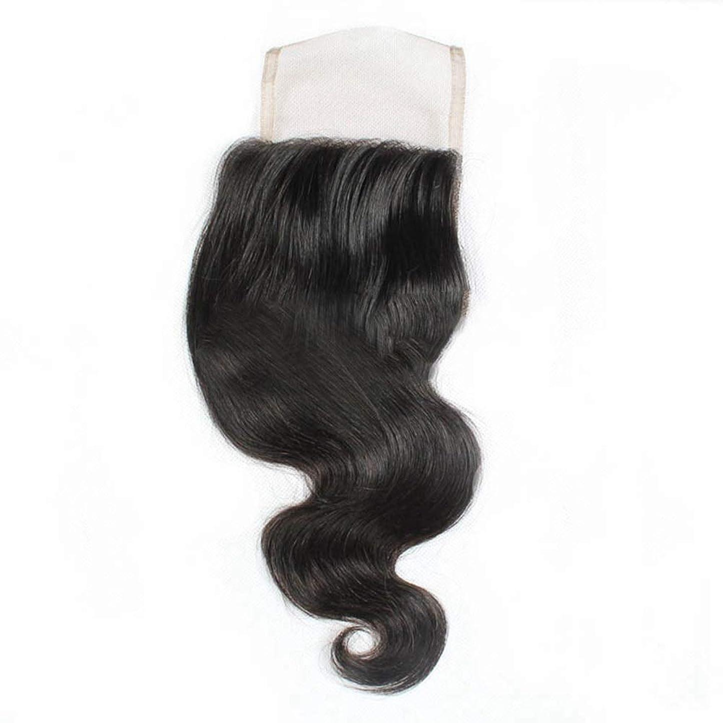ビジネス姿を消すマークダウンBOBIDYEE 9aブラジル人毛フリーパート4 * 4レース前頭閉鎖ボディウェーブヘアロールプレイングかつら女性のかつら (色 : 黒, サイズ : 14 inch)