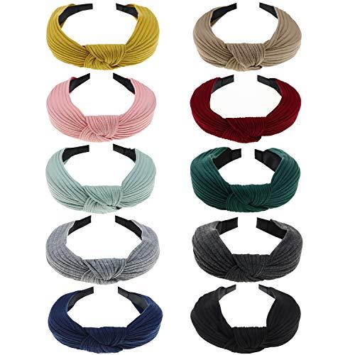RESHOW - 10 diademas para mujer, estilo bohemio, elásticas, suaves, anchas, para el pelo, de tela, para mujeres y niñas 10 Pack (H) Talla única