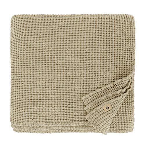 Linen & Cotton Plaid Decke Sommer Tagesdecke Waffelpique Enzo - 48% Leinen, 52% Baumwolle, Beige Creme (210 x 250 cm) Blanket Überwurf Bett Doppelbett Überwurfdecke Bettüberwurf Bettbezug Bettwäsche