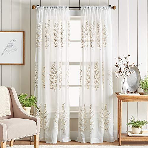 "MARTHA STEWART Georgia Embroidery Sheer Rod Pocket Window Curtain Panel Pair, 84"", Ivory"