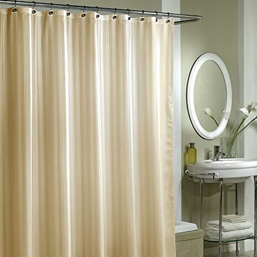 EXCELL Home Fashions by Appointment Woven Stripe Damask Fabric Shower Curtain Liner, Linen