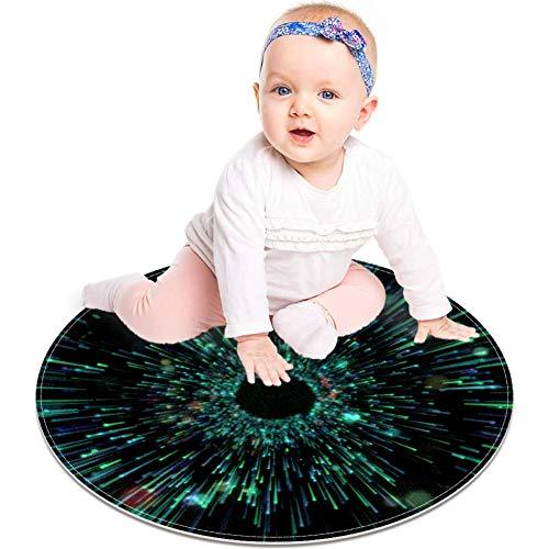 MUOOUM Glowing Grid Sci-Fi Interface Round Area Rug Runder Teppich Waschbare Bodenmatten Soft Absorbieren Wohnzimmer Küche Fußmatte Badteppich