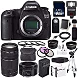 Canon EOS 5DS DSLR Camera (International Model) 0581C002 + Canon EF 75-300 III+ EF 50mm f/1.8 STM Lens + LP-E6 Replacement Battery + Charger + 64GB SDXC Card Bundle