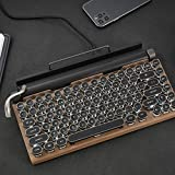 Seeyeah Mechanical Bluetooth Keyboard 83-Key Vintage Typewriter-Style Keyboard, Retro Typewriter Keyboard Wireless USB Metal Panel and Round Keycaps Anti-Ghosting (83 Keys, Wood Color)
