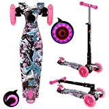 OUTCAMER Patinete Niño Niña 3 a 14 Años Patinete 3 Ruedas Led Luces con Patinete Plegable Scooter...