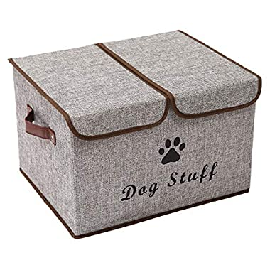 Geyecete Large Storage Boxes - Large Linen Fabric Foldable Storage Cubes Bin Box Containers with Lid and Handles for Dog Apparel & Accessories, Dog Coats, Dog Toys, Dog Clothing