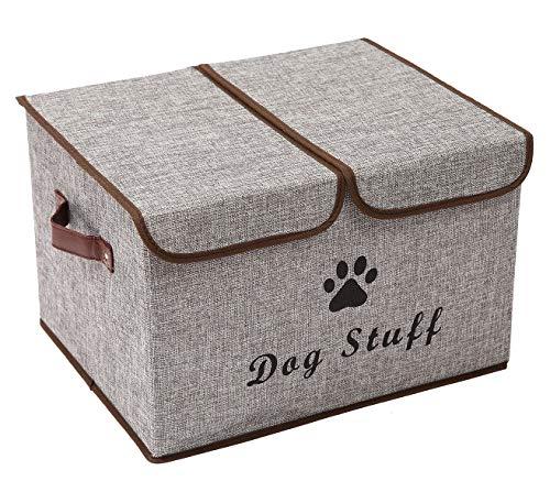 Morezi Caja de almacenamiento grande para juguetes de perro, cesta de almacenamiento de lona, organizador con tapa, perfecto para organizar juguetes y accesorios, color gris claro