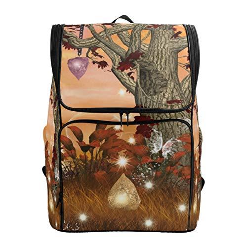 LISNIANY Rucksack,Fantasy Tree Laternen Pflanzen,Computertasche,Schultasche,große Kapazität