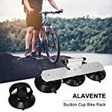 ALAVENTE Sucker Bike Rack High Strength Suction Car Roof Bike Rack Roof Cup Bicycle Carrier Quick Release Aluminium Alloy Roof Rack Fit for Most Cars (One Bike-Silver)