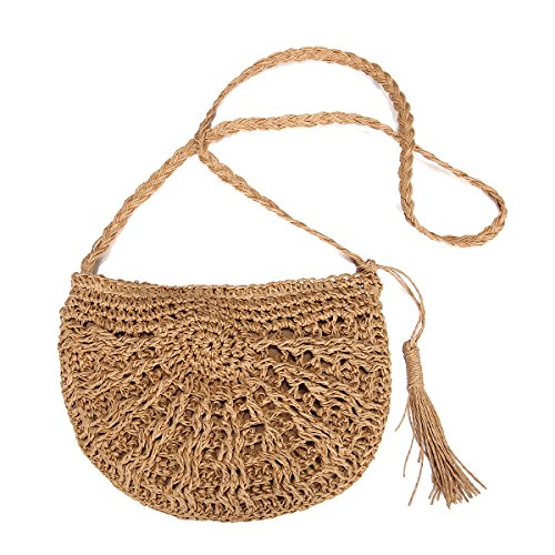 Straw Crossbody Bag, JOSEKO Women Weave Rattan Shoulder Bag Summer Beach Round Wicker Purse for Travel Everyday Use Khaki 25 x 18cm(L x H)