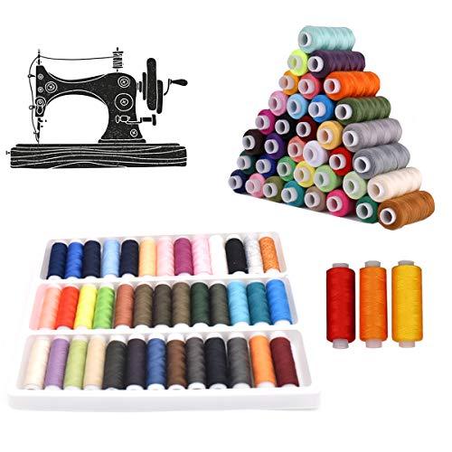 Poliéster Hilos Coser,CHENKEE 2 cajas 39 Hilos de Coser de Colors Surtidas Poliéster Conjunto de Hilos Costura Carretes para Coser ropa a Manual y a Máquina