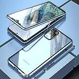 Funda para Samsung Galaxy S20+,Carcasa 360 Grados Delantera y Trasera de Cristal Templado Transparente Case Cover,Estuche Adsorción Magnética Metal Bumper Cubierta para Samsung Galaxy S20 Plus-Azul