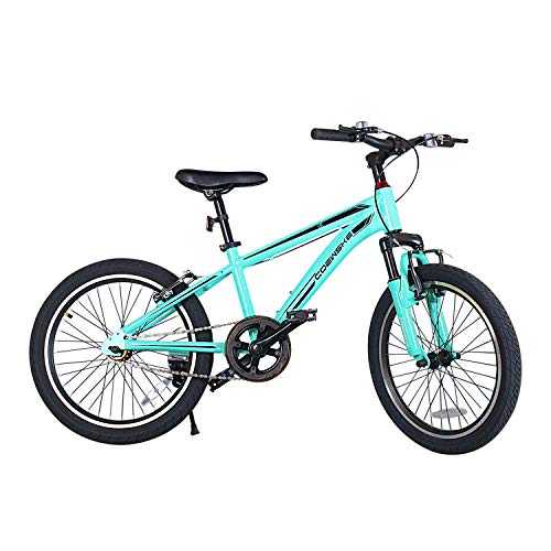 COEWSKE 20 Inch Kids Bike Enjoy-Style Children's Mountain Bike Sports Cycling 1 Speed with Kickstand Fit for 6-13 Years Old Or 49-62 Inch Tall Kids(1 Speed Blue)