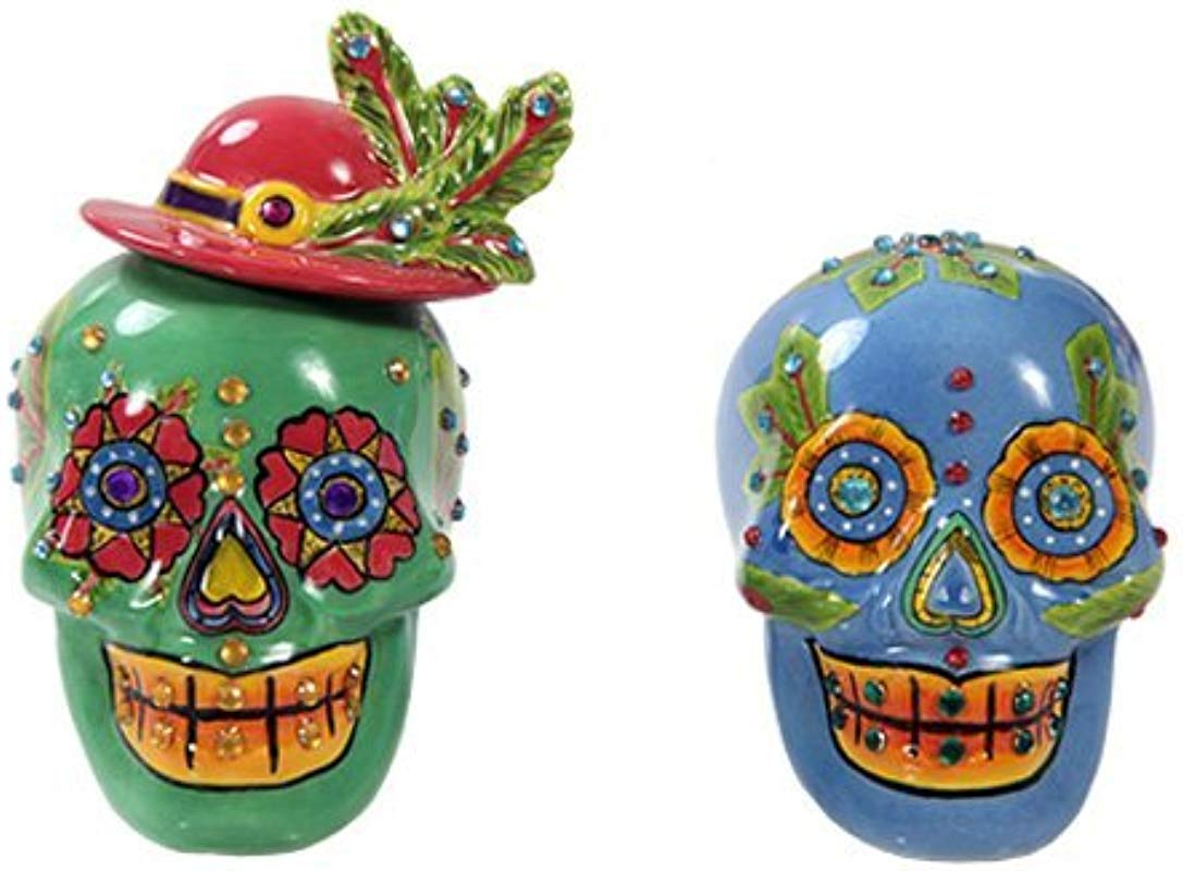 Pacific Giftware Day Of Dead Sugar Blue Green Skulls Salt Pepper Shakers Set Rhinestone DOD