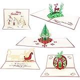 5 Piezas Navidad Tarjetas,Pop Up Tarjeta de Felicitación de Navidad en 3D árbol de Navidad, Papá Noel, Reno, Manzana, Castillo, para Tarjetas de Navidad Tarjeta de Cumpleaños de Año Nuevo