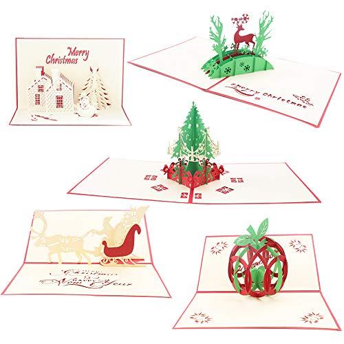 Tarjetas de felicitación de Navidad,5 Pack tarjetas de Navi