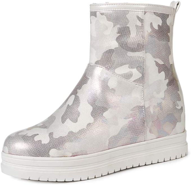 pink town Women's Camouflage Pattern Increased Leisure Walking Platform Boots