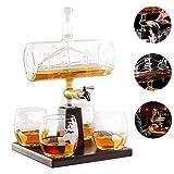 BQT Weißwein-Dekanter, Scotch Whisky Dekanter, 1000ML Alkoholisches Getränk, Edelstahl-Wasserhahn Spender - 4 Geätzte Weltkarte Gläser Set