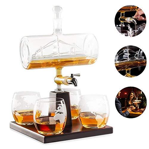 Witte wijn karaf, Schotse whisky karaf, 1000ML alcoholische drank, RVS kraan dispenser - 4 geëtste wereldkaart bril - Perfecte gift set