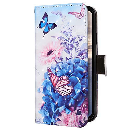 Uposao Kompatibel mit Samsung Galaxy J4 Plus 2018 Handyhülle Bling Glitzer 3D Bunt Muster Schutzhülle Lederhülle Brieftasche Hülle Tasche Klapphülle Wallet Flip Hülle Kartenfächer,Schmetterling