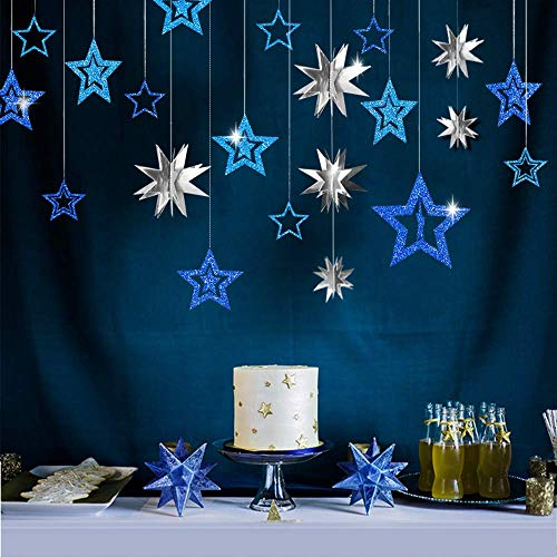 Blue Silver Star Party Dekoration Kit Metallic Glitter 3D Star Girlande Twinkle Little Star Ausschnitte Starry Party Supplies Hanging Decor zum Geburtstag Baby Shower Graduation