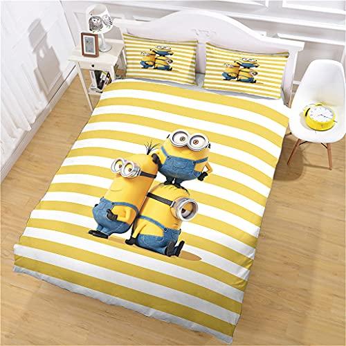 Bettbezug Mikrofaser 1/2 Person Minions-Streifen Bettwäsche 3D Bedruckt und Kissenbezug, 135 x 200 cm Super Weicher Bettbezug Mit Reißverschluss Für Erwachsene Und Kinder