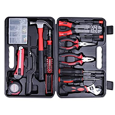 Cartman Tool Set 160pcs, General Household Hand Tool Kit with Plastic Toolbox, Electrician's Tools In Storage Case